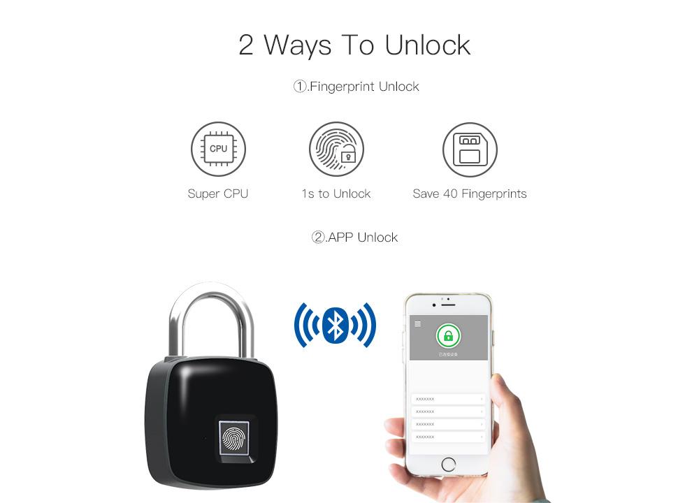 Anytek P30+ Bluetooth Fingerprint Padlock